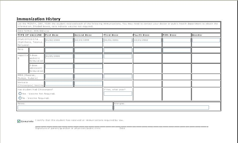 Free Report Card Template. Sample Immunization Record- Landscape
